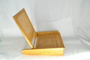 Unique Vintage Folding Beach Chair W Cane Seat And Back