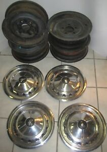 1957 Chevrolet Belair Wheels And Hub Caps Vintage Oem 14 Inch 5x4 75 5 Inches