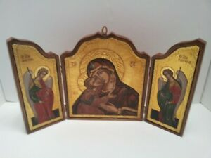 Florentia Italy Florentine Religious Icon Triptych Madonna Child And Angels