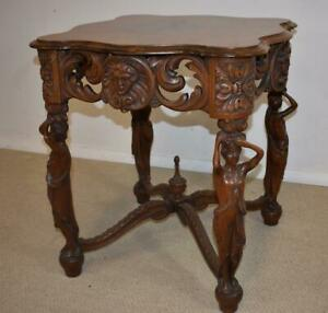 Walnut Lamp Table With Standing Carved Full Bodied Female Figures 1930 S