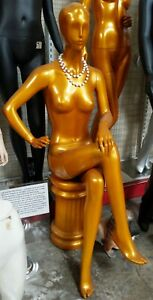 Used 021 Gold Female Sitting Mannequin W Pedestal Local Pickup Los Angeles
