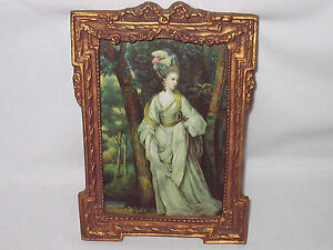 Antique Victorian Wood Gesso Picture Frame Print 7 5x5 Lady In Forest Orig Fam