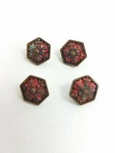 Antique Vintage Victorian Set Of 4 Hand Painted Enamel Buttons Steel A5 58