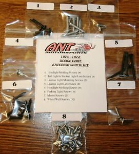 1970 1972 Dodge Dart Exterior Screw Kit W Wheel Well Screws Demon Mopar