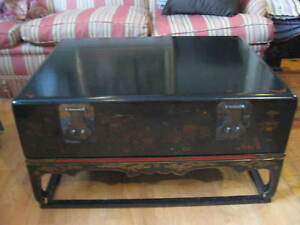 Antique Chinese Trunk Chest On Stand Painted Black Red Lacquer Vintage Storage