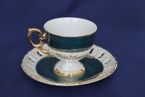 Vintage Luster Green And Gold Footed Teacup And Reticulated Saucer Japan