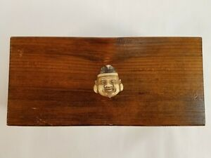 Early Japanese Wood Sewing Box Tobacco Box Trinket Box W Netsuke Handle Lid 1