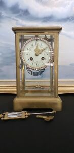 Antique Brass Crystal Regulator Clock Japy Freres With Swarovsky Dial France