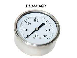 New Hydraulic Liquid Filled Pressure Gauge 0 600 Psi 1 4 Npt Cbm 2 5 Face