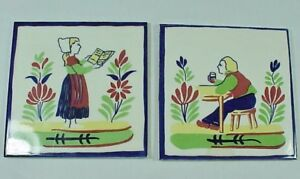 Pair Vintage Art Wall Ceramic Tiles Trivets Soriano Ceramics Italy Dutch Design