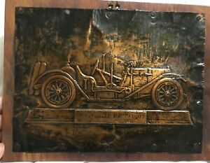 Vintage Copper Press Plate 1912 Mercer Raceabout Automobile Rare Antique