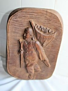 Vintage Antique 3d Hand Carved Wood Plaque Wall Hanging Of Asian Man