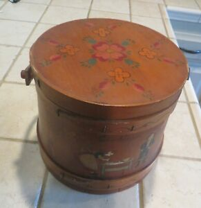 Vintage 8 Wood Shaker Banded Firkin Sewing Box Bucket Sugar Painted 1956