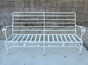 Vintage Woodard Chantilly Rose Mid Century Wrought Iron Patio Sofa