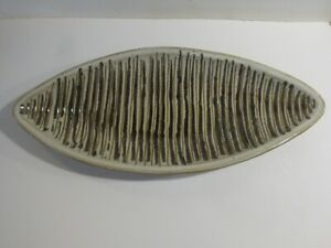 Martz Mid Century Modern Ceramic Studio Striped Oval Pottery Bowl California