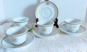 4 Vintage Department Of The Navy Cups And Saucer Sets Shenango Caribe