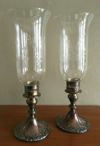 Gorham Silverplate Chantilly Yc3004 Candlesticks Etched Glass Hurricane Shades