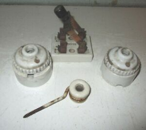 Vintage Porcelain Electric Knox Knife Switch And Two Light Cord Mounts