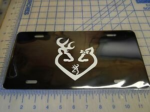 Browning License Plate Tag Buck And Doe Heart Family