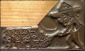 Letter Press Plate Cowboy Shooting Talk Printing Block Wood Copper Vintage