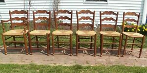 Set Of 6 French Country Antique Rush Seat Chairs Ladder Back Dining Made France
