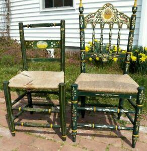Two Spanish Country Antique Original Painted Decorated Rush Seat Chairs Spain
