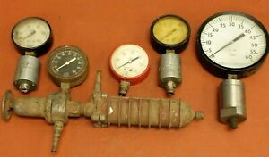 Lot Of 5 Different Industrial Pressure Gauges Steampunk Ashcropt U s Gauge
