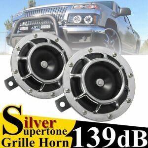 2x Universal 139db Electric Horn Chrome Grille Mount Compact Super Tone Loud Car