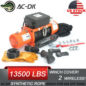 Ac Dk 12v Electric Winch 13500lb Waterproof Ip67 Synthetic Rope For Recovery