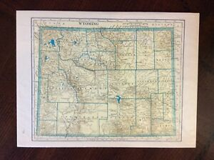 Vintage 1937 Rand Mcnally Map Of Wyoming Nice Condition