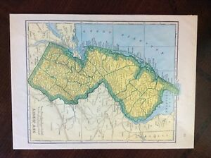 Vintage 1937 Rand Mcnally Map Of New Jersey Nice Condition