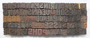 105 Piece Vintage Letterpress Wood Wooden Type Printing Blocks 17 M m bc 3089