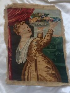 Antique Victorian 19th Century Needle Work Tapestry 34 X 25cm Finely Stitched Gc