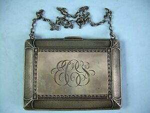 Antique William B Kerr Sterling Silver Coin Purse Monogrammed Ecs