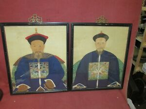 Pair Old Or Antique Chinese Ancestor Paintings On Silk Showing Rank Badges