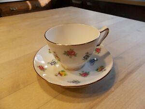 Crown Staffordshire Tea Cup Saucer Flowers Vintage Fine Bone China