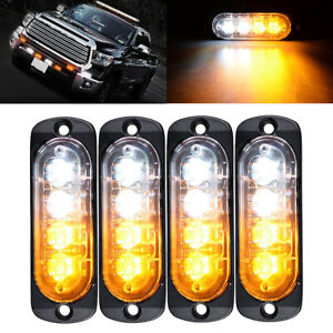 4 4 Led Emergency Security Side Marker Grille Flash Strobe Light Amber White