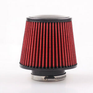 4 Round Tapered Universal Air Intake Cone Filter Chrome For Car Truck Suv 100mm