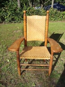 F A Sinclair Antique Chair Woven Signed Rare