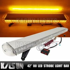 42 80 Led Amber Light Bar Emergency Strobe Flash Tow Truck Plow Roof Response