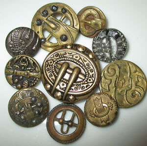 Lot 10 Antique Victorian Belt Buckle Design Picture Buttons 9 Metal 1 Glass