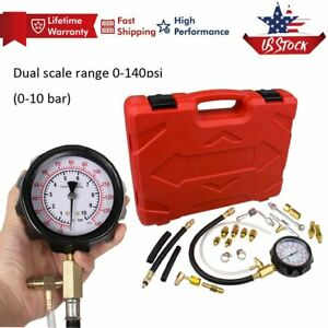 Fuel Injection Pump Pressure 0 140psi Injector Tester Test Pressure Gauge Kit Us