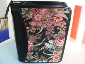 Compact Tapestry Full Grain Leather Franklin Covey Quest Planner Binder Zip