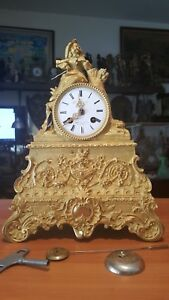 Antique French 8 Day Time And Strike Spring Brass Movement With Silk Thread