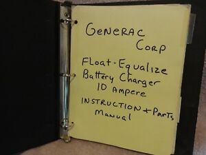 Generac Float Equalize 10 Amp Battery Charger Instruction Parts Manual Binder
