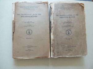 1927 Philippines Triangulation 44 Fold Out Maps Two Volumes Very Rare