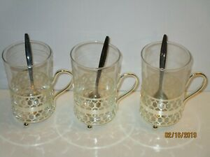 Vintage Arcorco France Persian Tea Cups With Spoons Set 3 Rare