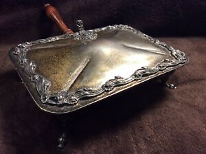 Antique Silver On Copper Lidded Serving Dish Vintage Thumb Lid