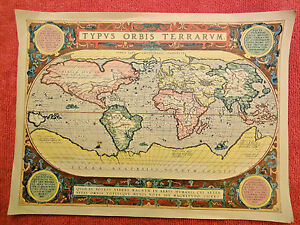Map Antique World Reproduction Typus Orbis Terrarvm 18x13 Inches Unframed