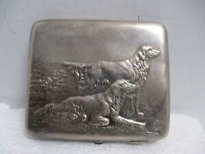 Antique Hallmarked Silver Russian Cigarette Case W Repousse Relief Of 2 Dogs
